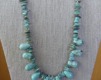 18 Southwestern Inch Light Green Turquoise Magnesite Teardrop and Mother of Pearl Necklace with Earrings