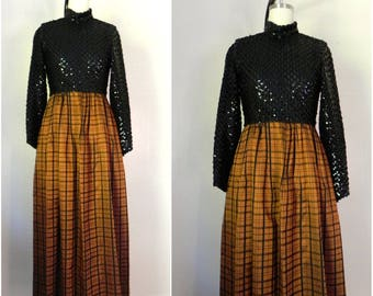 Vintage 1970s Lillie Rubin Evening Dress with Sequin Bodice