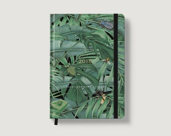 2018 Planner (Green Forest) - 2018 Weekly Planner - Tropical Planner - 2018 Diary - 2018 Agenda - A5 Planner - Green leaves and gold foil