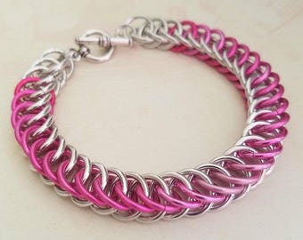 Pink Ribbon Chain Maille Bracelet Aluminum Jewelry