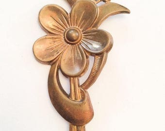 Large Art Deco Flower Brooch, Transitional 1940s Vintage Jewelry SUMMER SALE