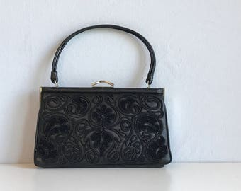 Vintage Embroidered Leather Bag / 60s Soutache Chenille Embroidered Handbag / Evening Bag NOSWT