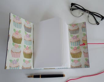 Cup Cake Journal, Baking Book, Recipe Journal, Purple Leather Journal, Hand Bound, Blank Book, Gratitude Journal, A6 Leather Notebook