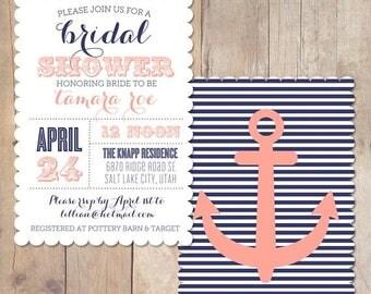 SUMMER SALE Vintage Nautical Scalloped Bridal Shower Invitation Printable Invite OR Printed Card