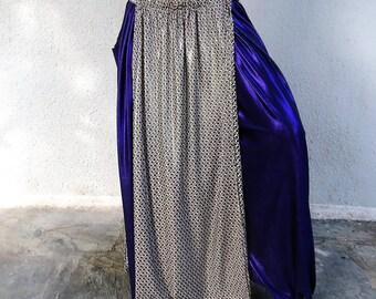 Silver-Black-Of white Panel Skirt - Tribal Fusion- Belly dance-Overskirt-Accent Skirt.