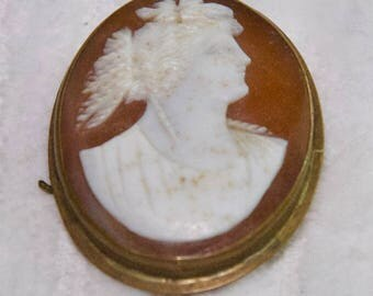 Vintage  Hand Carved Shell Cameo Pin