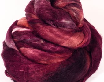 Hand- dyed cultivated silk roving ( Brick) -( 3.4 oz.)