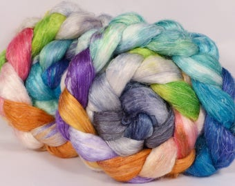 Hand dyed Tussah Silk / flax roving -Paddle Boats - ( 65/35)-  (4.75 oz.)