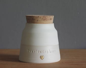 custom urn, wide shape with quote and gold. human ashes urn or pet urn. bone white, porcelain. read item details before ordering