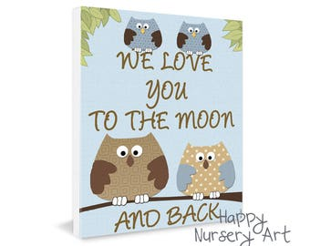 Baby boys Room Art,Twins Nursery Poster,we love you to the moon and back,love quote wall art,twin girls bedroom decor,toddler decorative art