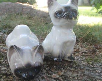 Vintage Porcelain Siamese Kitten Figurines