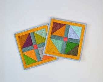 Geometric Pot Holders, Modern Kitchen Decor, Quilted Pot Holders, Multicolored, Hostess Gift, Kitchen Accessories