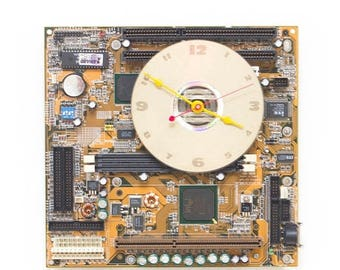 Geeky Wall clock - recycled Computer - yellow circuit board - ready to ship c5572