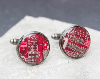 Sale Last one left - Circuit board Cuff links with red circuit board