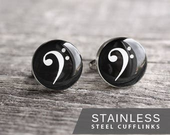 Bass Clef cufflinks, Music cuff links, Stainless steel cufflinks, Musician cufflinks, Wedding cuff links for groom, groomsmen, gift for him