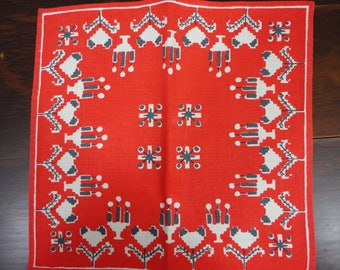 Scandinavian Square Red and White  Centerpiece  Runner
