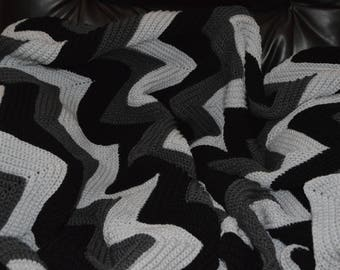 Large Crocheted Ripple Afghan in Black and Grey Tones