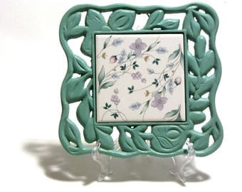 "Pfaltzgraff Verdigris Tile Trivet ""April"" Floral Inset Tile Cast Iron Footed Base Gift For Mom Chef Kitchen Decor"