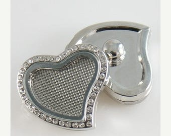 1 Floating Locket Heart Rhinestone - FITS MOST 18MM Candy Snap Charm Jewelry Silver Magnetic Kb7090 Cp0045