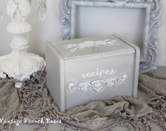 Recipe Holder Box File French Style Paris Grey Appliques Rose Toile Hand Painted Romantic French Style Shabby Chic Cottage Farmhouse Decor