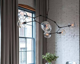 5 PC Clear Branching Chandelier Blown Glass Lighting / Pendant Lights / Branching Chandelier Glass