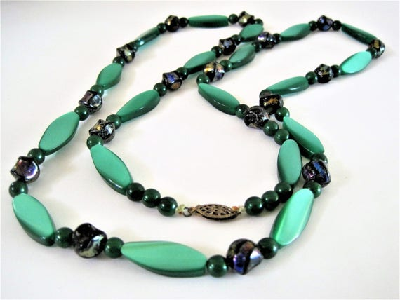 Green Lucite Bead Necklace - Variety of Lucite Beads -  Large Green Beads - 32 Inch Long Flapper