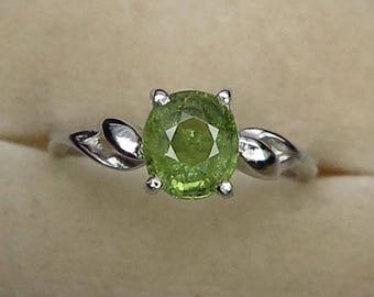 1.57 Ct Natural Demantoid Garnet Green Yellow Unheated Ring Silver 925