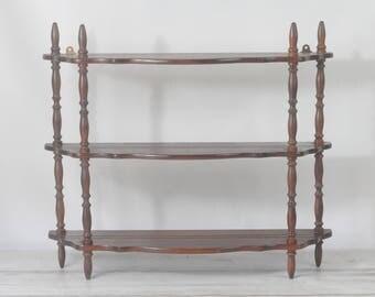 Vintage Wood Wall Shelf Three Tier Wood Shelf Display Rack