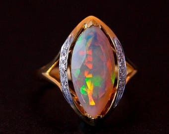 ON SALE Gold Opal and Diamond Ring - Halo Setting - Australian Opal