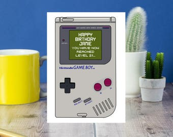 Game Boy Console Birthday Card, Card for gamer, Nintendo birthday card for retro gamer, vintage gaming, Birthday card for old skool gamer