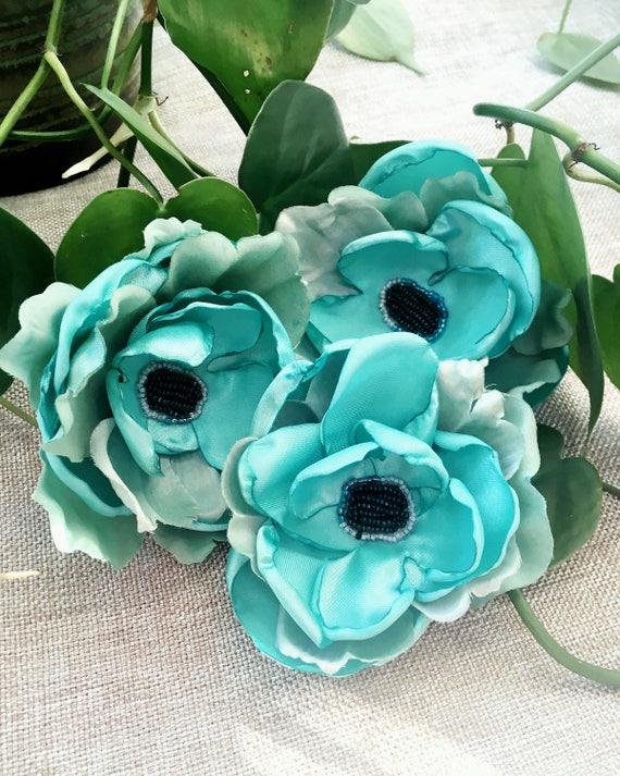 Seasonal Bundle of 4 Blooming Blossoms bridal pinup  vintage inspired handmade hair flowers and brooch hat lapel pins