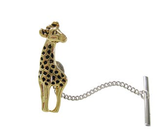 Gold and Black Toned Giraffe Tie Tack