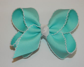 Ocean Blue & White Large Moonstitch Hair Bow - Moonstitch Ribbon, Moonstitch Hair Bow, Blue Hair Bows, Moonstitch Bows, Bright Blue Bows