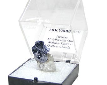 Molybdenite Silvery Hexagonal Crystal in Quartz Rock Matrix Thumbnail Mineral Specimen in an Acrylic Museum Box from an estate collection