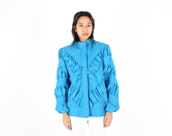 80s QUILTED ORIGAMI Ruched Gathered 3D PUFFER Avant Garde Silk Bomber Jacket