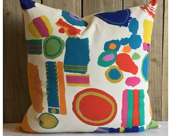 Vintage 1964 Fabric Cushion Cover Top Brass By Zandra Rhodes For Heals