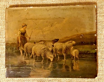 Rare Beautiful 1800s Antique Print on Paper Mounted on Canvas of Lovely Pastoral Scene, Printed by Publisher Colton, Zahm and Roberts, NY