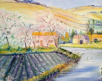 Country Dream, Farm Landscape Oil, Norwegian Farm, Napa Valley, Peaceful Farm, Cherry Blossoms, Blue Stream, Golden Hills, Dan Leasure Oil
