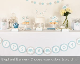 Elephant Baby Shower Banner, Customize Colors and Saying, Baby Shower Decoration