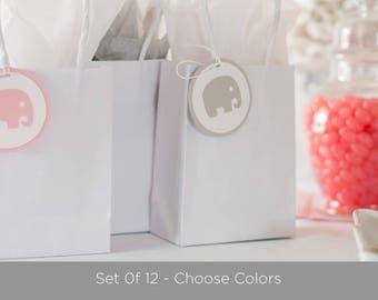 Elephant Baby Shower Decoration -  Elephant Tags - Party Favor Tags - choose colors