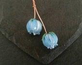 2 pale blue rose headpins  Handmade lampwork glass   earring pair.