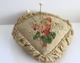 Antique French Pin Cushion,Hat Pin Cushion Hand Painted Pin Cushion, Sawdust Filling,French Boudoir