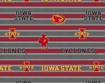 Iowa State University Fleece Blanket Fabric with Polo Stripe-Newest Pattern-Sold By The Yard