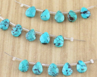 Beautiful Quality Tear Drop Shaped Turquoise Briolette Gemstone Beads - Final Sale - Destash Beads and Gems