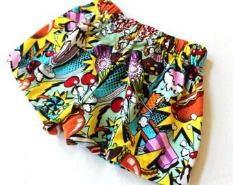 Alexander Henry Midnight Snack flannel cotton pajama shorts