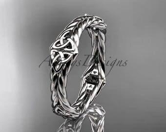 platinum rope celtic trinity knot wedding band RPCT9356G