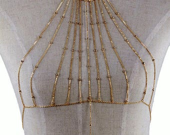 Music festival gold body chain jewelry, layered body chain jewels, body jewelry chain, fashion jewelry, music festival jewelry, PiYOYO 48437