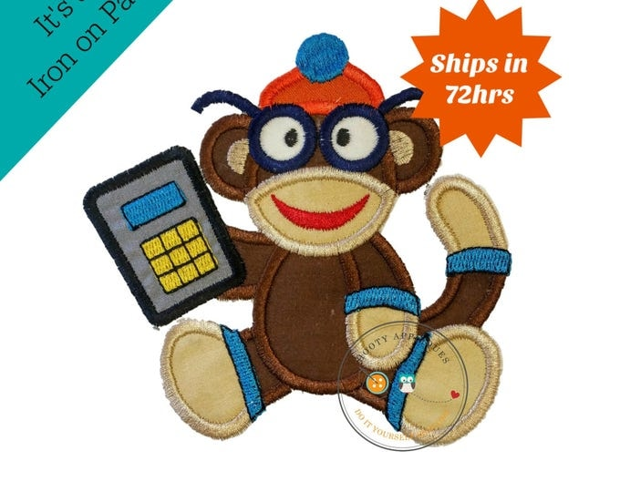Back to school boy monkey with glasses and calculator  - Iron embroidered fabric applique patch embellishment-ready to ship