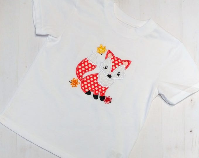 Fall fox with autumn leaves embroidered t shirt for girls- Halloween top  girls- tops for toddlers