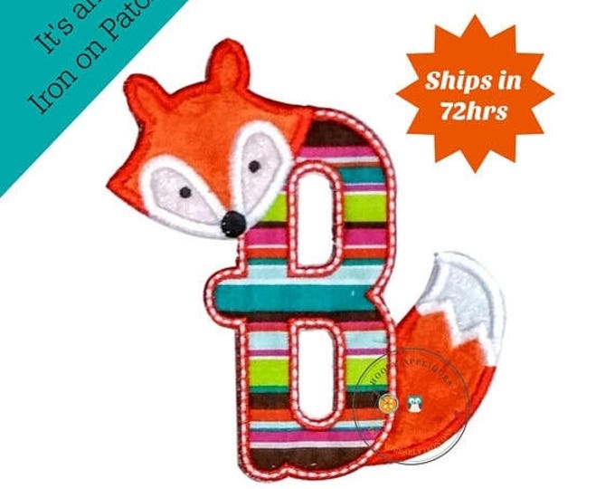 ON SALE NOW Woodland fox letter B machine embroidered iron on no sew patch, fox embroidered monogram letter b, ready to ship
